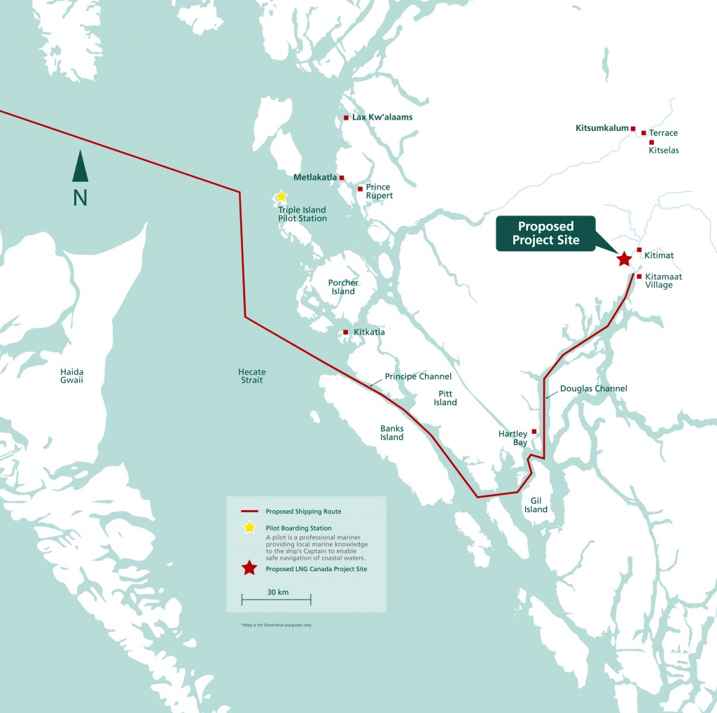 Proposed shipping route for LNG Canada Gas (proponent: Shell | Korea Gas Corp. | Mitsubishi Corporation | PetroChina Company Ltd.))